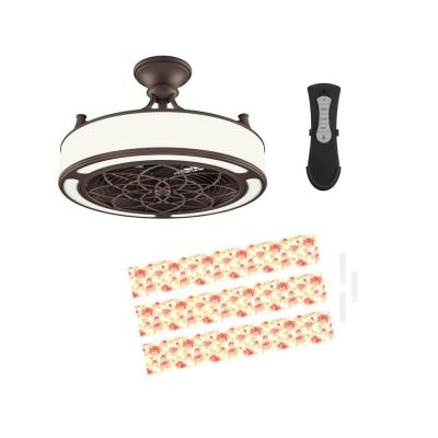 Anderson 22in. LED Indoor/Outdoor Bronze Ceiling Fan with Remote Control and Floral Insert Panel