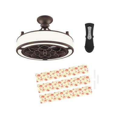 Anderson 22 in. LED Indoor/Outdoor Bronze Ceiling Fan with Remote Control and Floral Insert Panel