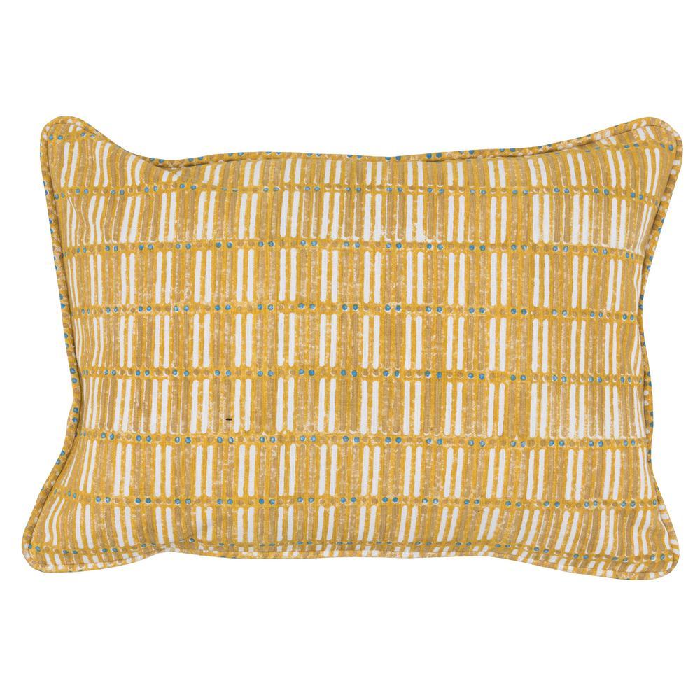 Aubrey Sunflower Yellow 14 in. x 20 in. Cotton Block Print Decorative Pillow