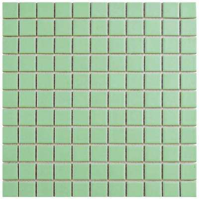 Metro Square Matte Light Green 11-3/4 in. x 11-3/4 in. x 5 mm Porcelain Mosaic Tile (9.8 sq. ft. / case)