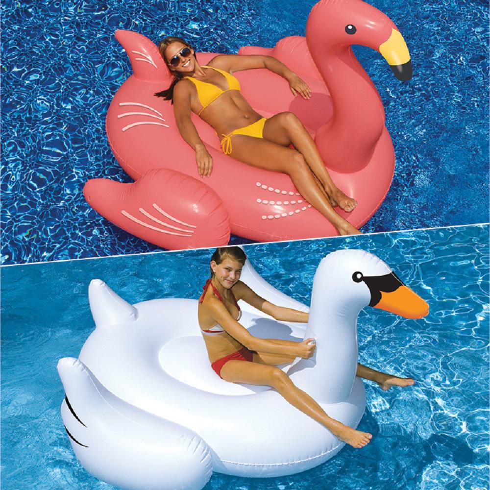 Swimline Giant White Swan and Flamingo Swimming Pool Floa...