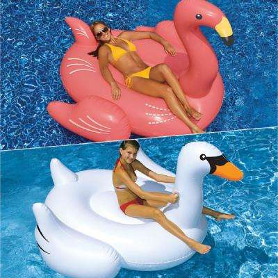Giant White Swan and Flamingo Swimming Pool Float Combo (2-Pack)