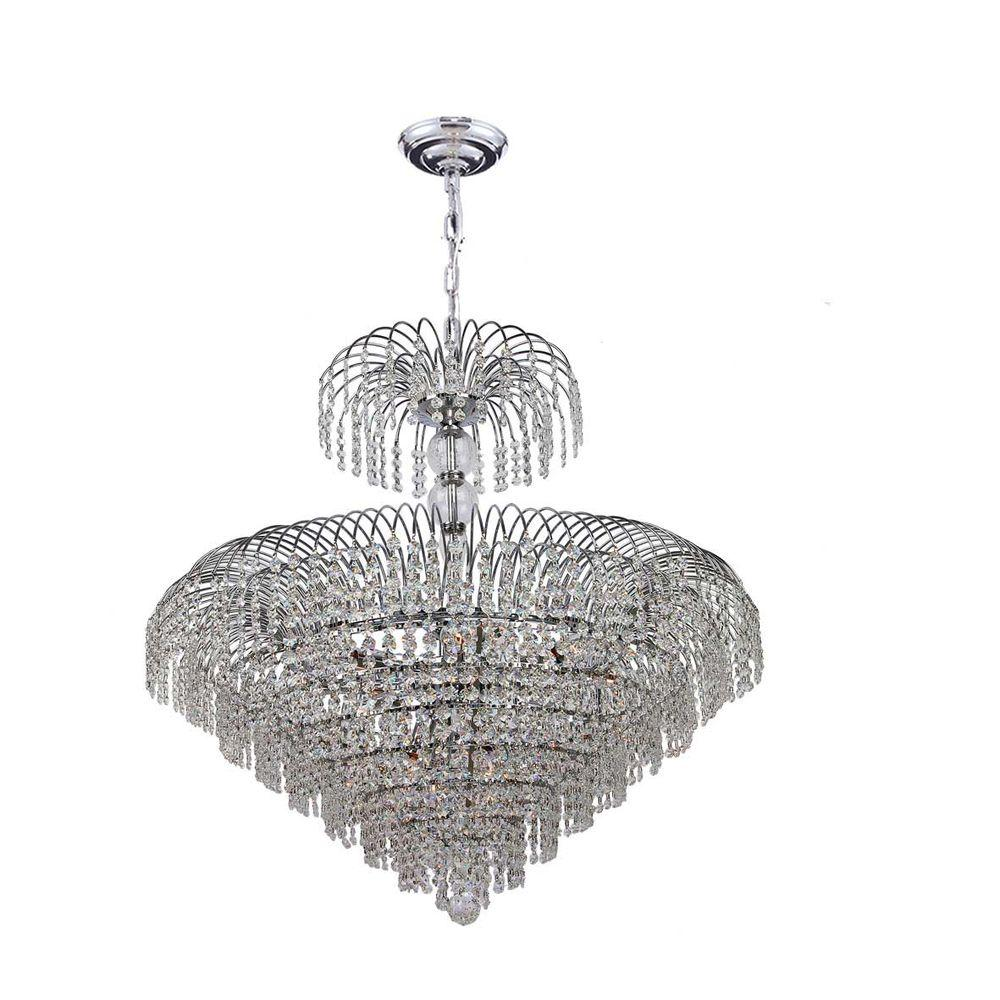 Worldwide Lighting Empire Collection 14-Light Polished Chrome Crystal Chandelier