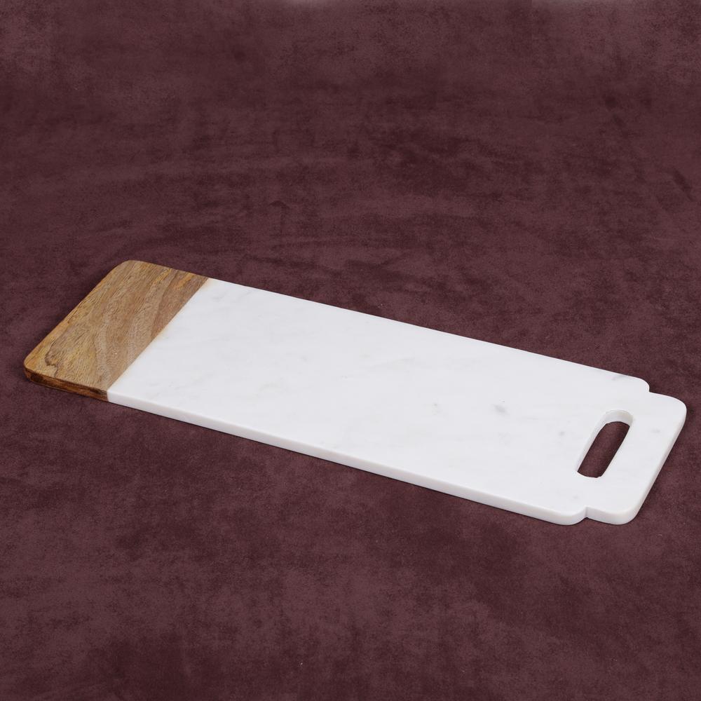 """Taj Elite"" Creamy White Marble with Mango Wood 18 in. x 6 in. Handled Board"