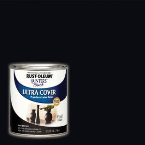 32 oz. Ultra Cover Flat Acrylic Latex Black General Purpose Paint