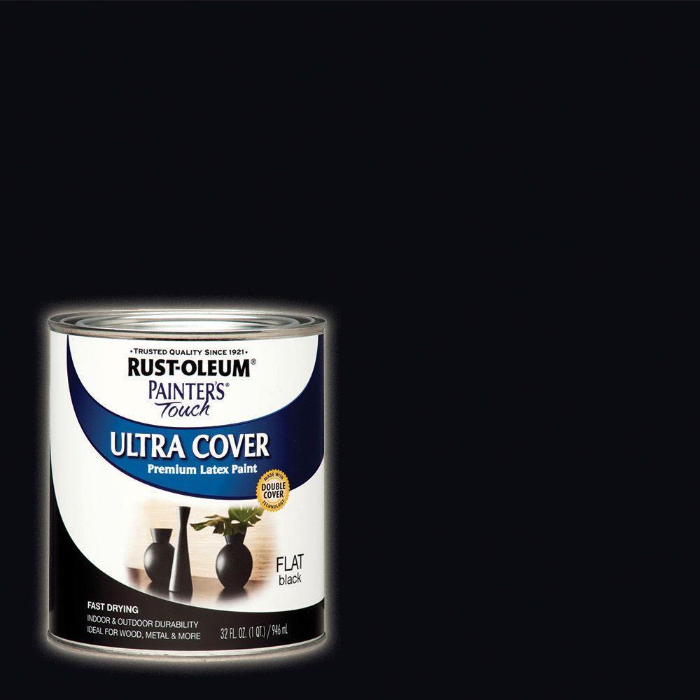 32 oz. Ultra Cover Flat Acrylic Latex Black General Purpose Paint