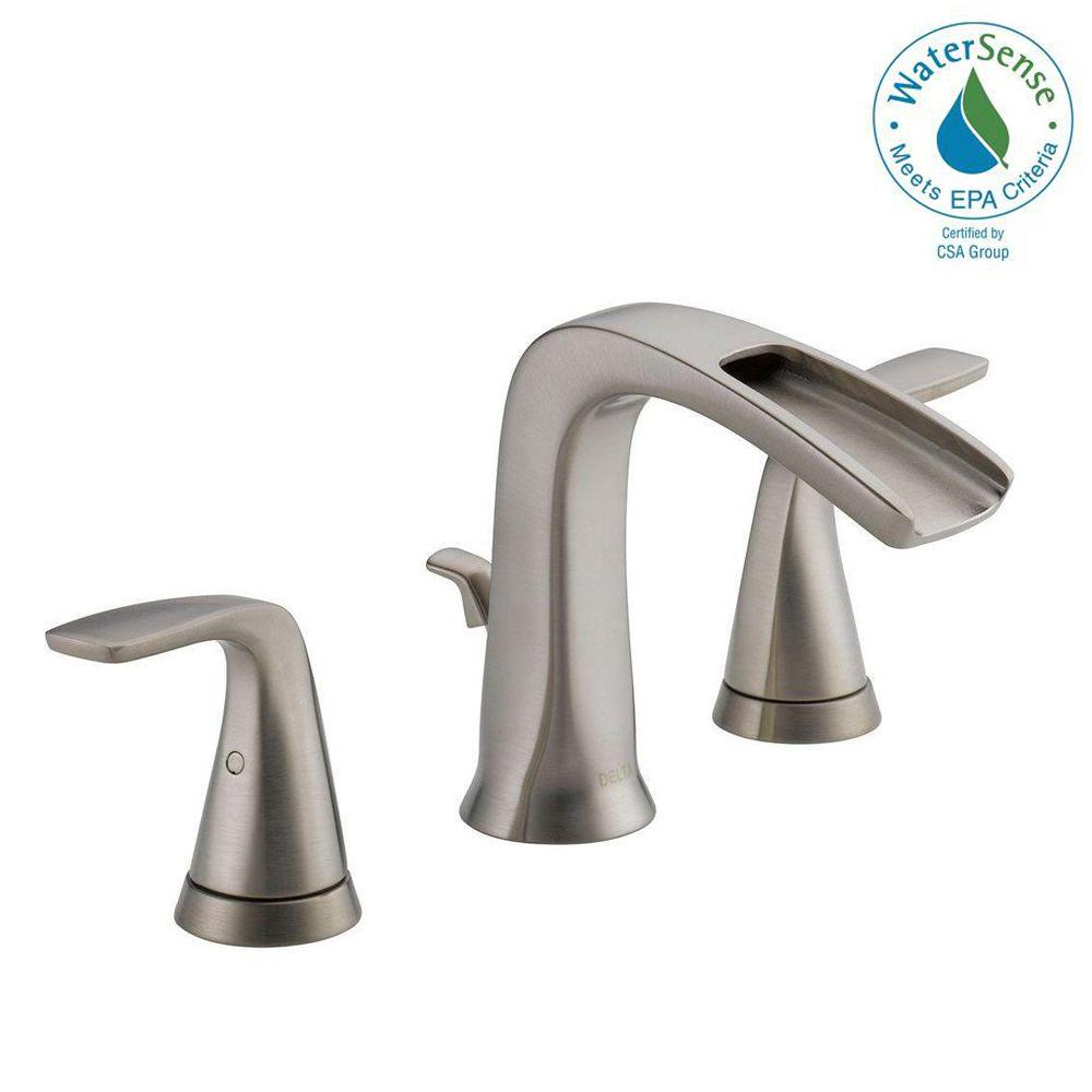 Delta Tolva In Widespread Handle Bathroom Faucet In Brushed - Delta waterfall bathroom faucet