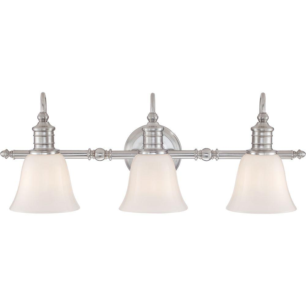 bathroom lighting fixtures brushed nickel home decorators collection broadgate 3 light brushed 22183