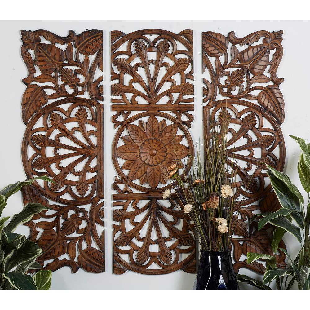 48 In X 48 In Carved Flowers And Vines Framed Wooden Wall Art Set Of 3