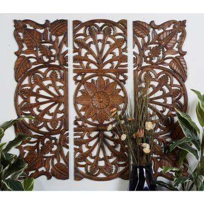 "48 in. x 48 in. ""Carved Flowers and Vines"" Framed Wooden Wall Art (Set of 3)"
