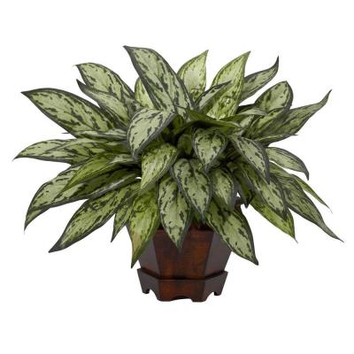 14 in. H Green Triple Silver Queen with Hexagon Vase Silk Plant