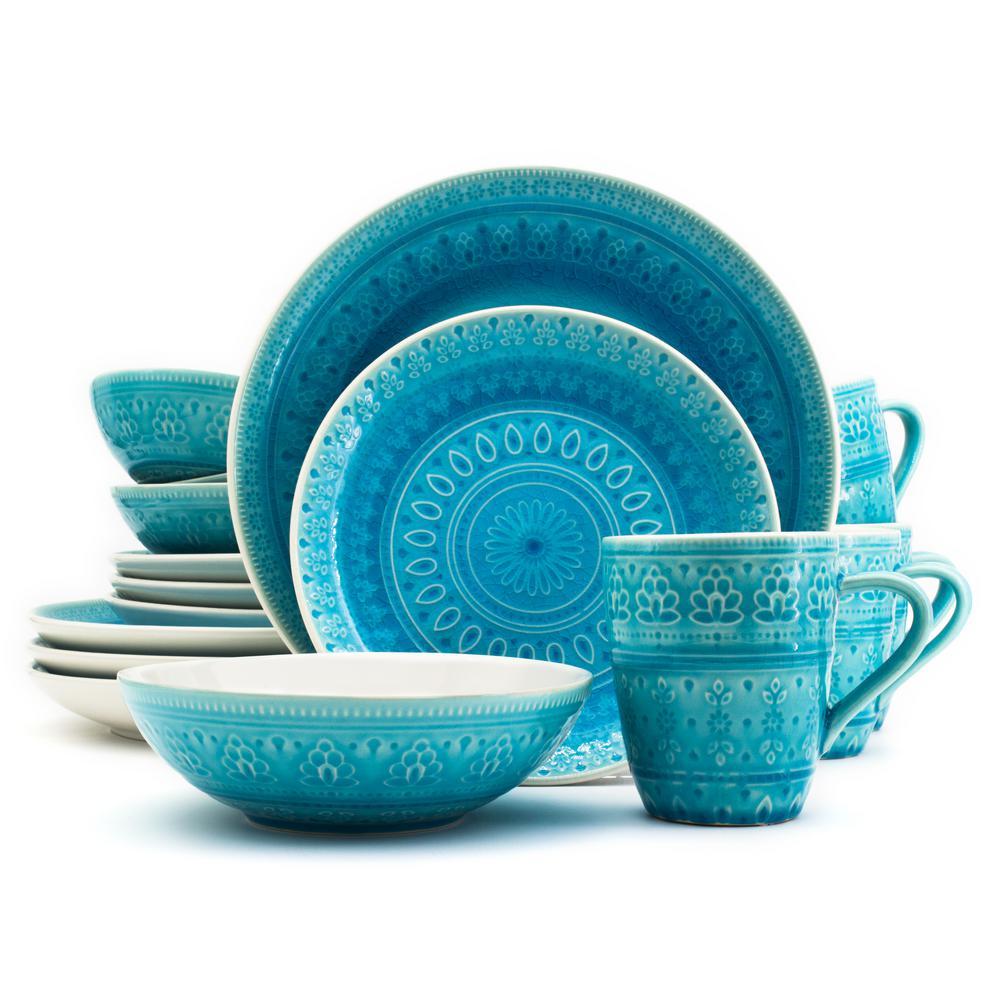 Fez 16-Piece Turquoise Dinnerware Set