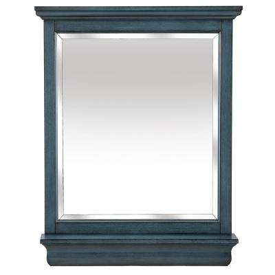 Cottage 29 in. x 35-8/9 in. Framed Wall Mirror in Harbor Blue