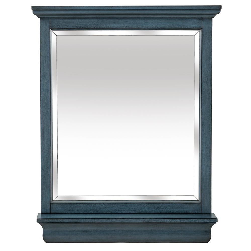 29.00 in. W x 36.00 in. H Framed Rectangular Beveled Edge Bathroom Vanity Mirror in Harbor Blue