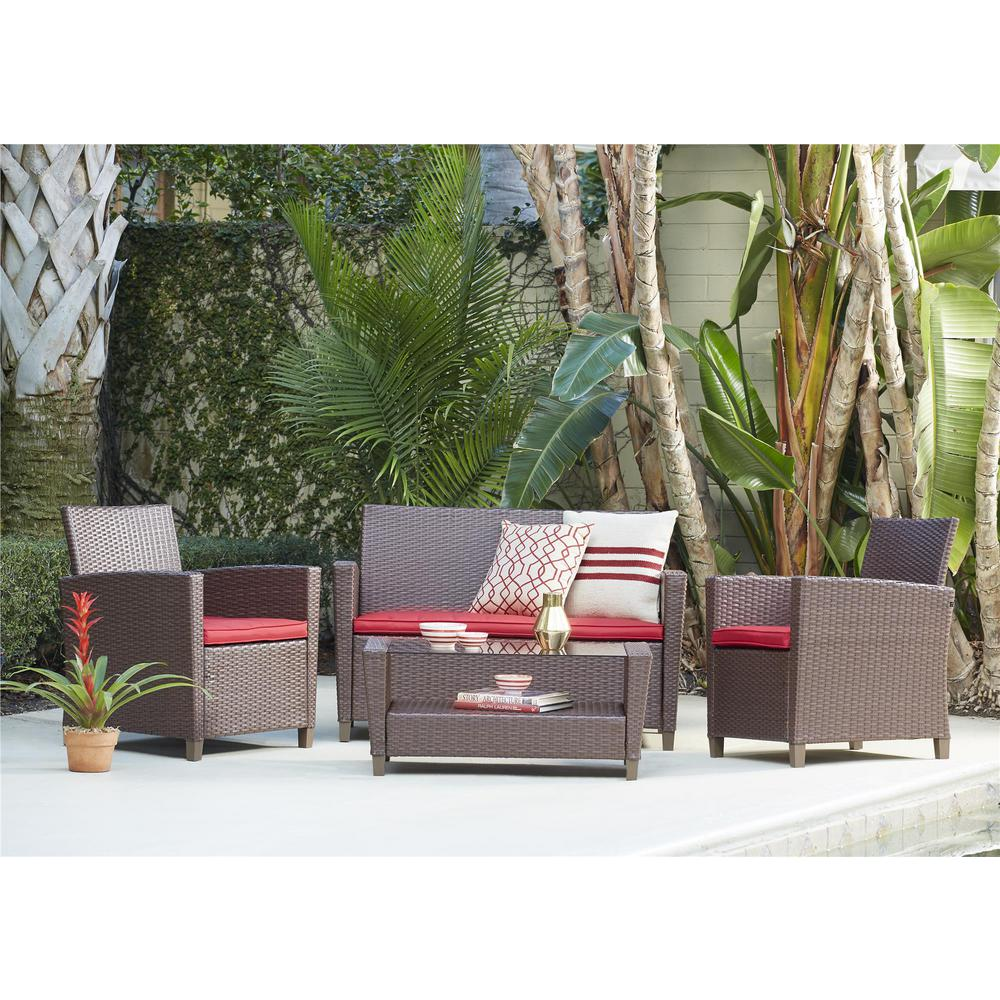 Malmo 4-Piece Dark Brown Resin Wicker Patio Conversation Set with Red