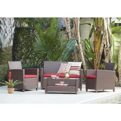 Malmo 4-Piece Dark Brown Resin Wicker Patio Conversation Set with Red Cushions