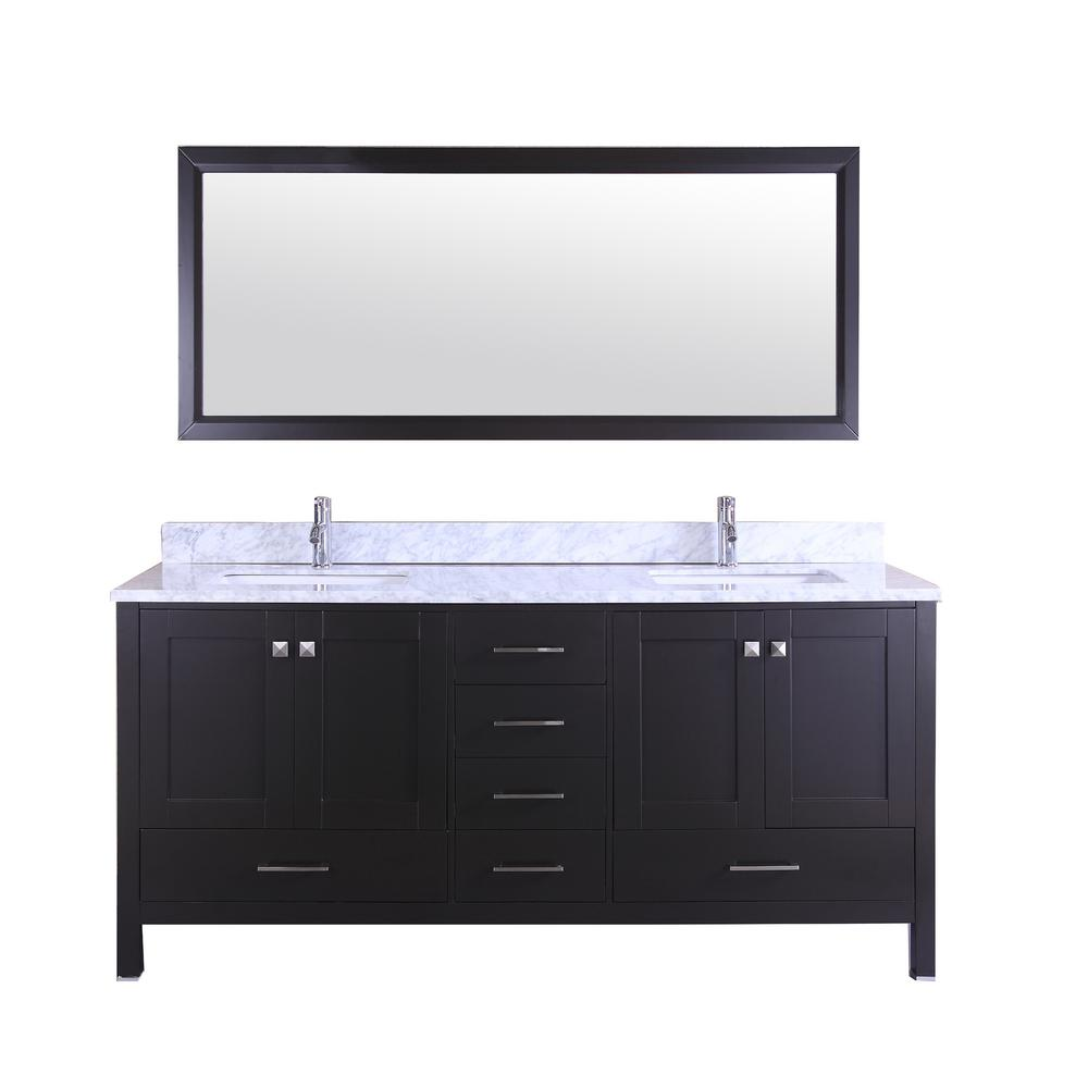 Shaker 60 in. W x 22 in. D x 34 in. H Vanity in Espresso with ...