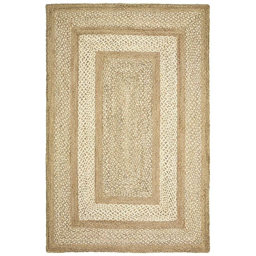 LR Home Braided Jute Border Gray 3 ft. 6 in. x 5 ft. 6 in. Indoor Area Rug