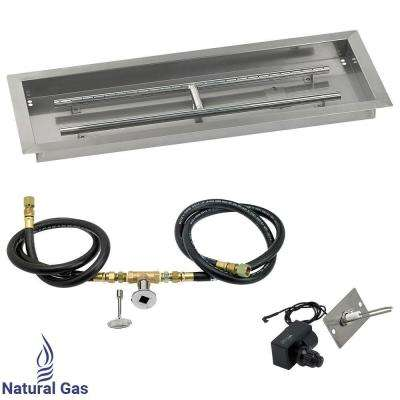 30 in. x 10 in. Rectangular Stainless Steel Drop in Fire Pit Pan with Spark Ignition Kit - Natural Gas