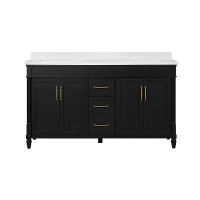 Highfield 60 in. Bath Vanity in Inpress Black with Cultured Marble Vanity Top in White with White Basins