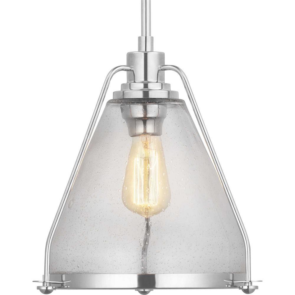 Progress Lighting Range Collection 1 Light Polished Nickel Pendant P500135 104 The Home Depot