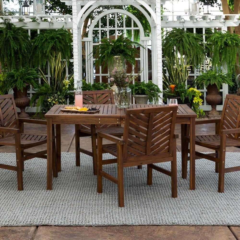 Chevron Dark Brown 5-Piece Wood Outdoor Patio Dining Set