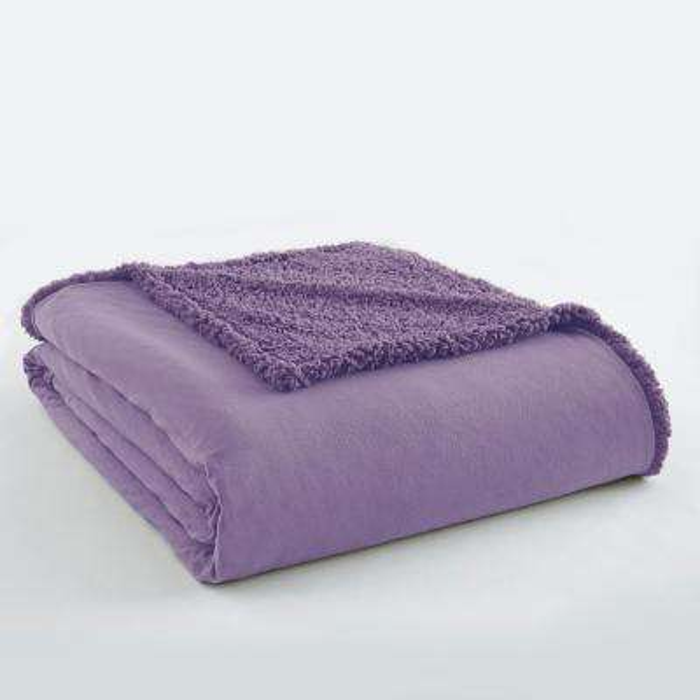 Twin Amethyst Sherpa Back Polyester Blanket