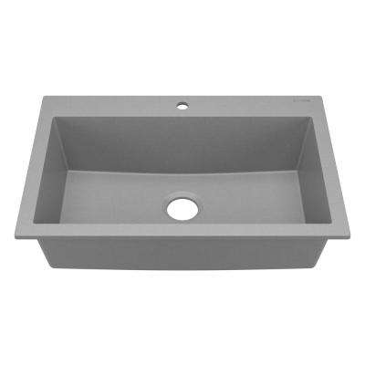 Camille Drop-In/Undermount Granite Composite 33 in. 1-Hole Single Bowl Kitchen Sink in Matte Graphite Gray