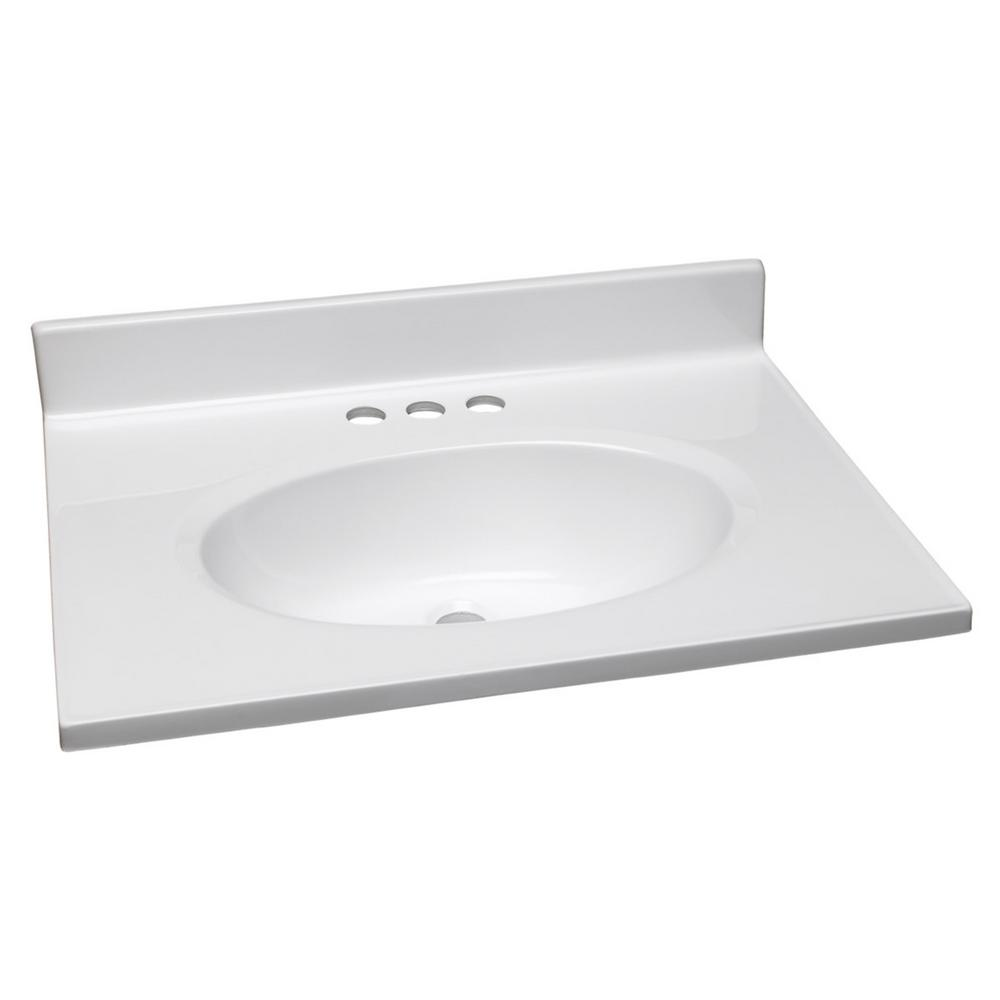 25 In. Cultured Marble Vanity Top In Solid White With Basin