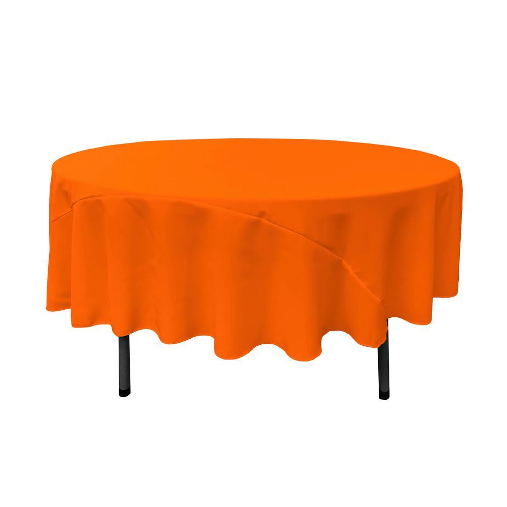 90 in. Orange Polyester Poplin Round Tablecloth