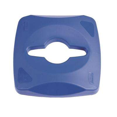 Untouchable 23 Gal. Blue Square Trash Can Single Stream Recycling Top Lid