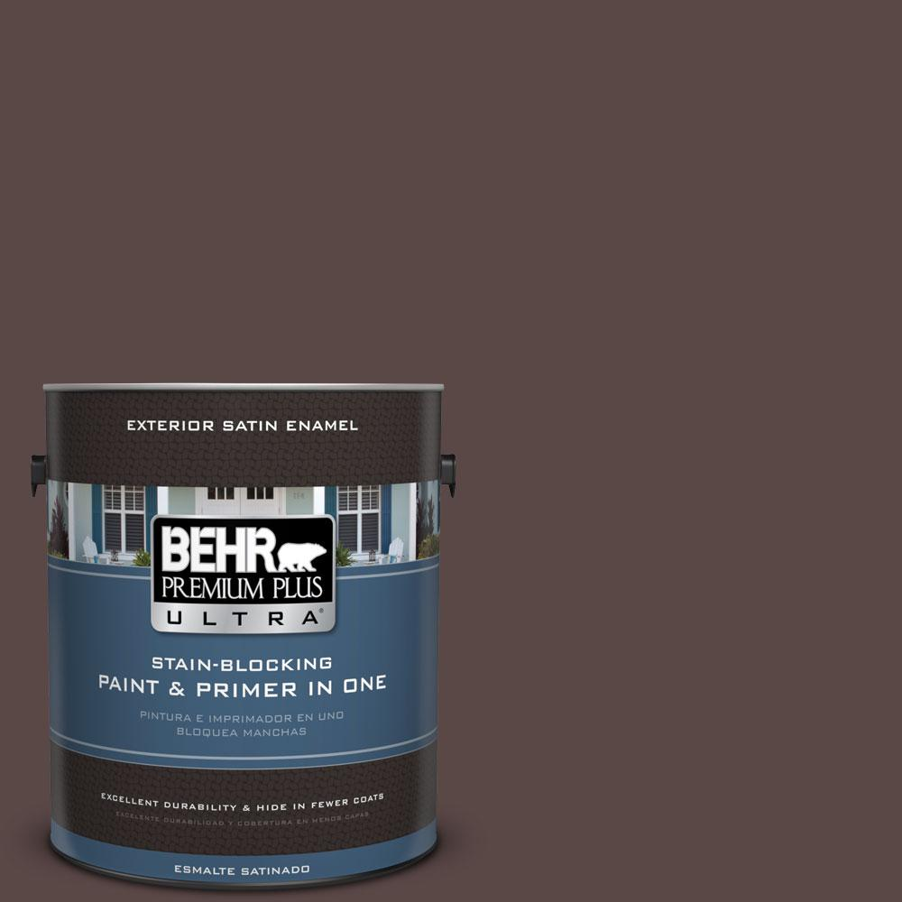 BEHR Premium Plus Ultra 1-gal. #750B-7 Thick Chocolate Satin Enamel Exterior Paint