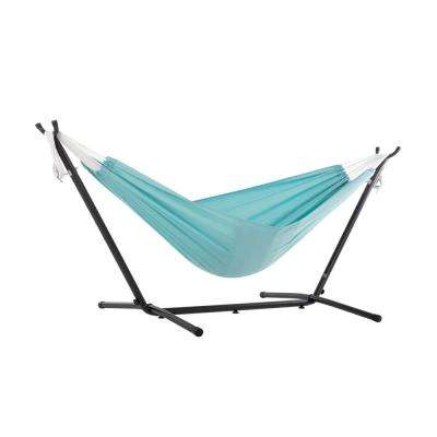 9 ft. Portable Polyester Hammock with Stand in Aqua