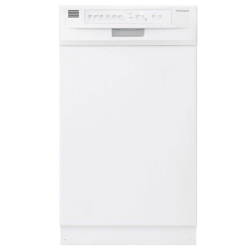 Frigidaire 18 in front control dishwasher in white with stainless steel tub energy star 55 for White dishwasher with stainless steel interior
