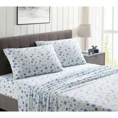 Morgan Home White and Blue Ultra Plush Fleece Queen Sheet Set