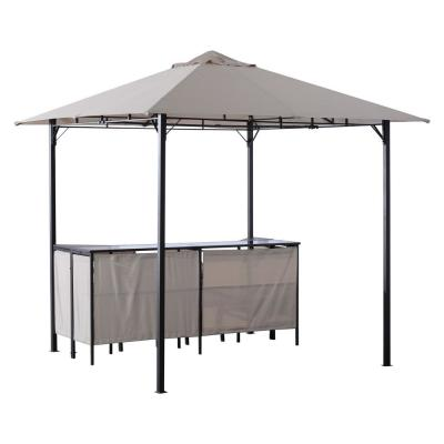 8 ft. x 8 ft. 3-Piece Steel Outdoor Furniture Covered Gazebo Patio Bar Set