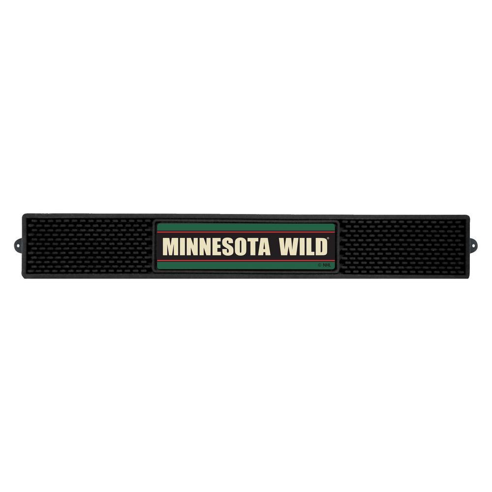NHL- 3.25 in. x 24 in. Black Minnesota Wild Drink Mat