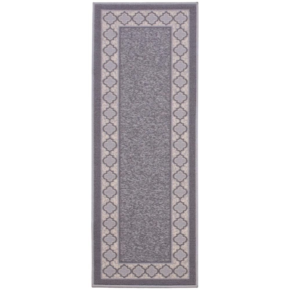 Anne Collection Trellis Border Design Gray 1 ft. 8 in. x