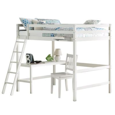 Caspian White Full Loft With Chair and Hanging Nightstand