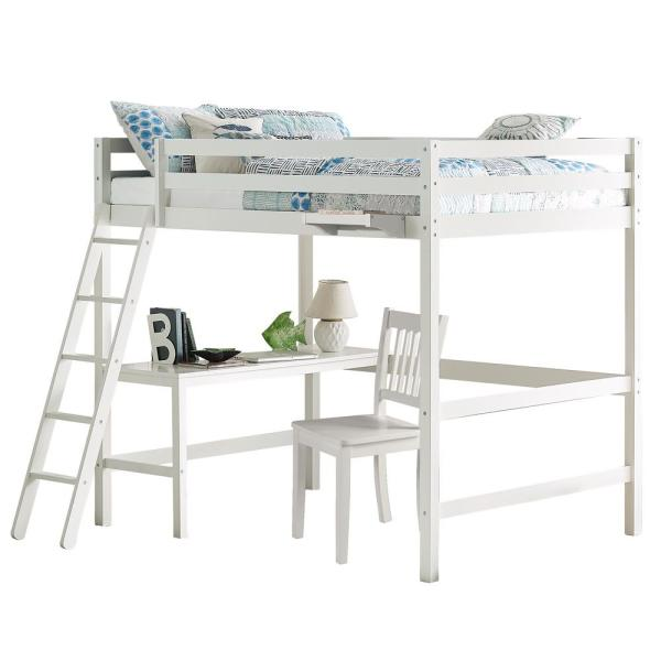 Hillsdale Furniture Caspian White Full Loft With Chair and Hanging Nightstand
