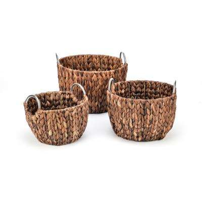 Rich Chocolate Round Hyacinth Baskets with Stainless Steel Handles (Set of 3)