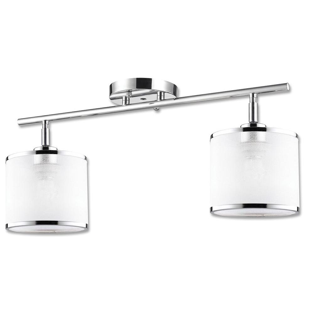 Concord Collection 2-Light Chrome Track Fixture with White Fabric Shade