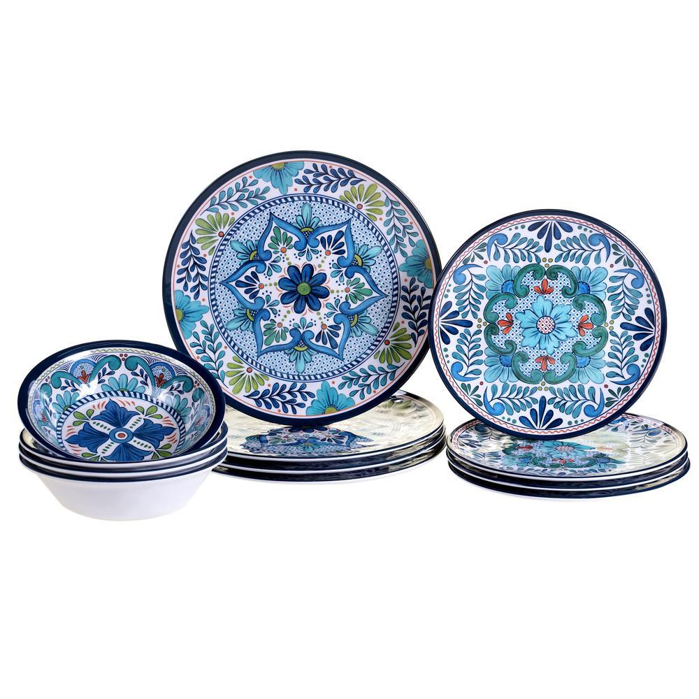 Certified International Talavera 12 Piece Blue Dinnerware Set