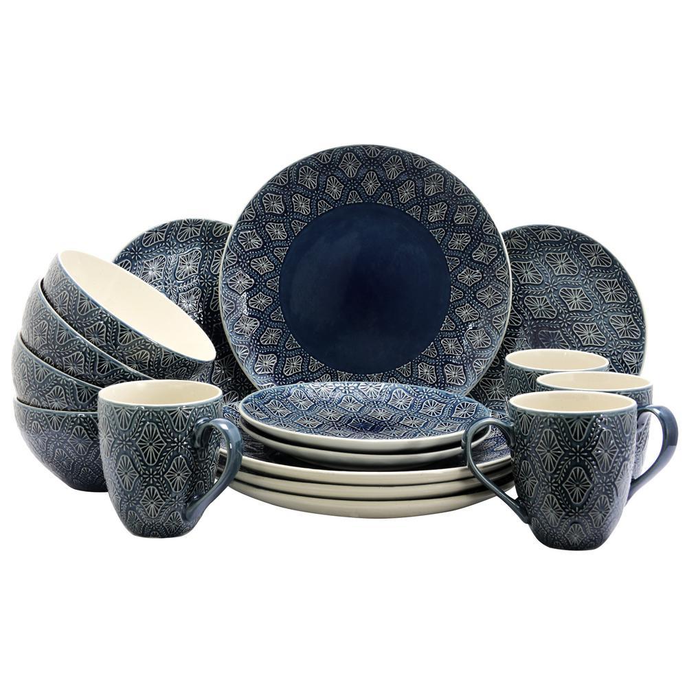Kali 16-Piece Blue Textured Dinnerware Set
