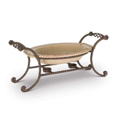 14 in. L x 9 in. W x 10 in. H Oval Chafing Dish with Brown Metal Base