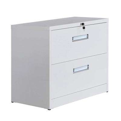 White Metal Vertical Lockable File Cabinet with 2-Drawer