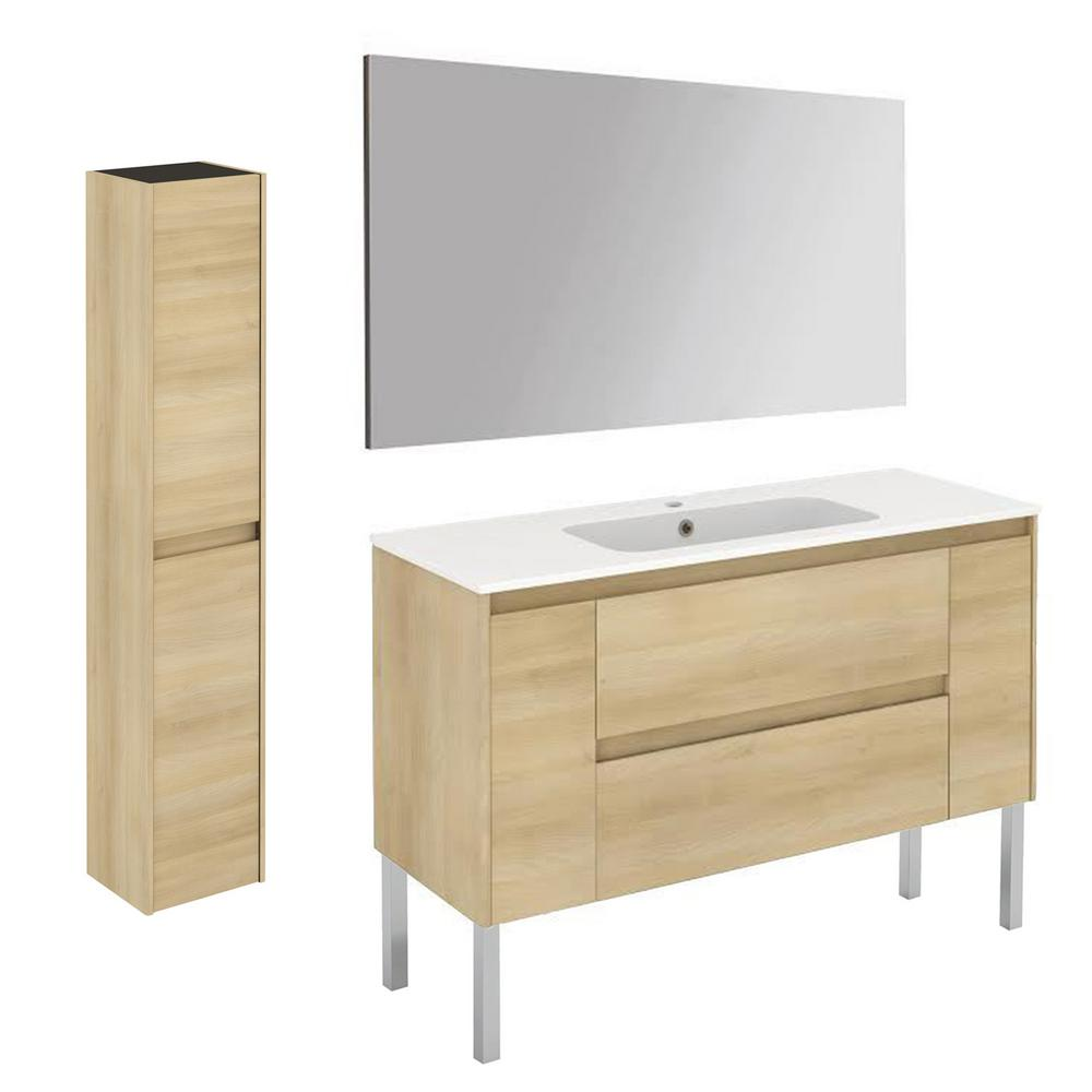 WS Bath Collections 47.5 in. W x 18.1 in. D x 32.9 in. H Bathroom Vanity Unit in Nordic Oak with Mirror and Column