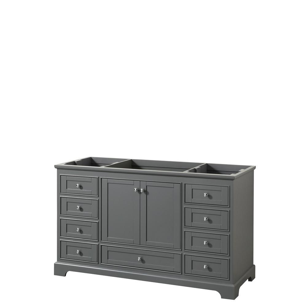 Deborah 59.25 in. W x 21.5 in. D Vanity Cabinet in Dark Gray