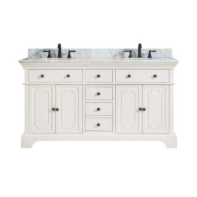 Hastings 61 in. W x 22 in. D x 35 in. H Vanity in French White with Marble Vanity Top in Carrera White with Basin