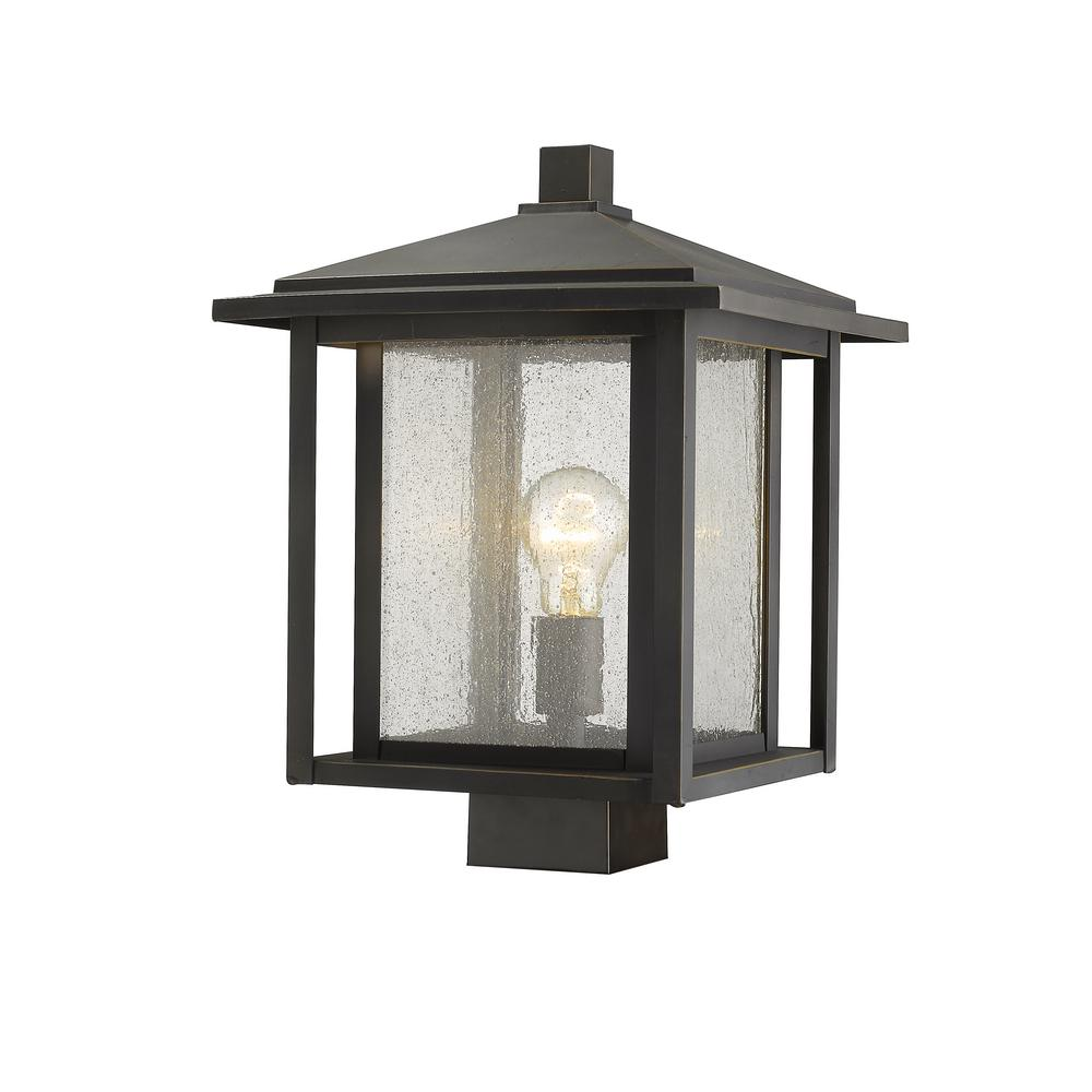 Filament Design Caspian 1-Light Outdoor Oil Rubbed Bronze Post Light with Clear Ribbed Glass